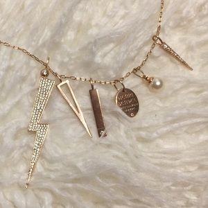 Henri Bendel Long Rose Gold Lightning Necklace